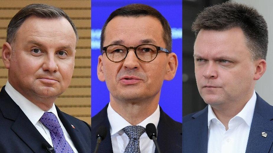 Andrzej Duda, Mateusz Morawiecki oraz Szymon Hołownia