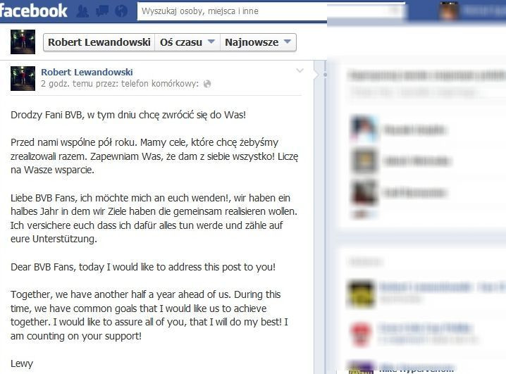 Robert Lewandowski zwrócił się do fanów BVB