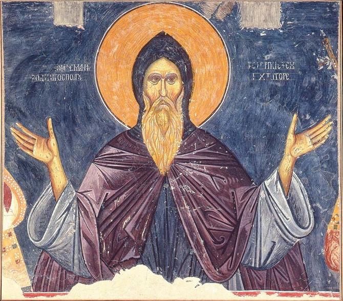 Veliki župan Stefan Nemanja kao Sveti Simeon Mirotočivi, Bogorodica Ljeviška, pocetak 14. veka