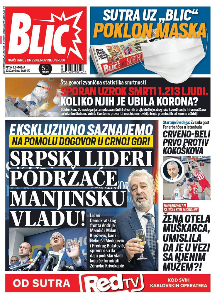 Blic naslovna za 02.10.2020.