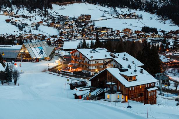 Dolomity: Ski Resort of Corvara at Night, Alta Badia, Dolomites Alps, Italy