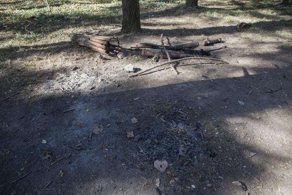 Pored klupe na kojoj je pronađena zmija nalazi se zgarište