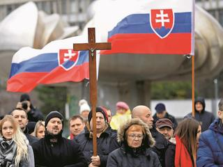 Marian Kotleba, leader of the far-right People's Party Our Slovakia (LSNS), attends a protest rally organized by religious group Slovak Convention for Family in Bratislava