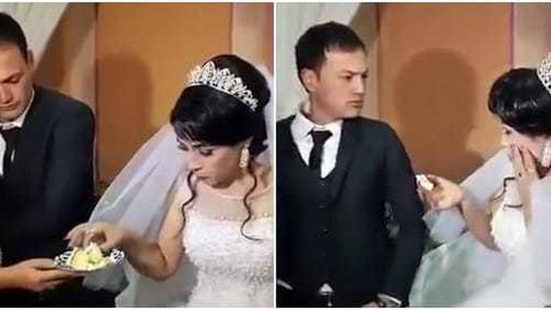 Violent groom gives his bride a heavy slap at their wedding in front of families and guests (video)