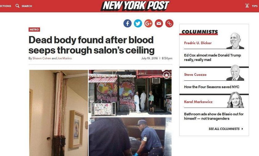 """Zwłoki w apartamencie. """"Krew kapała z sufitu"""""""