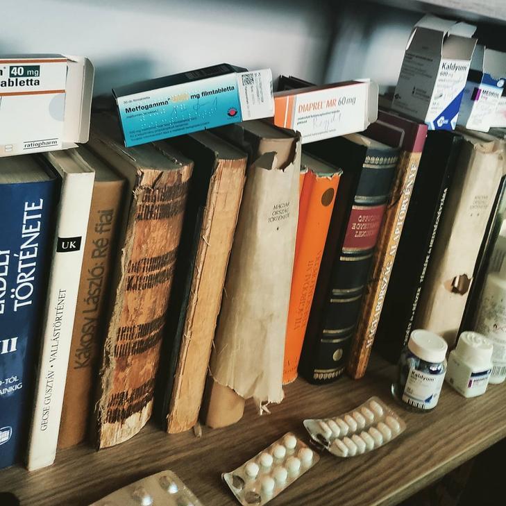 Hosszú még az út a gyógyulásig, nem csak könyvekkel, gyógyszerekkel is tele a polc / Fotó:  Szörényi Péter