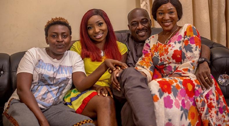 Uyoyou Adia, Omowunmi Dada, Paul Adams and Judith Audu on the set of 'The Family.' [Judith Audu production]