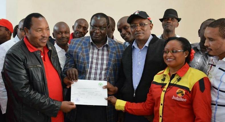 File image of Ferdinand Waititu (left) with United for Kiambu members John Mugwe James Nyoro Waititu's running mate Rev David Ngari Gakuyo and Acquiline Njoki