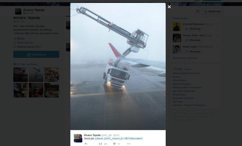 Monachium. Samolot Iberii uderzył w dźwig podczas startu