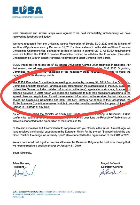 Pismo iz Evropske univerzitetske sportske asocijacije