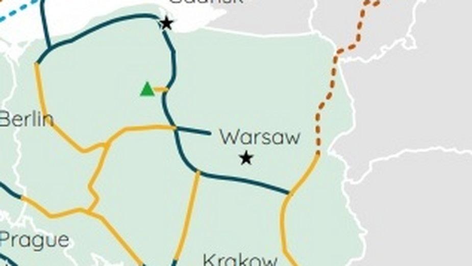 Wodorociągi w Polsce. Grafika: European Hydrogen Backbone