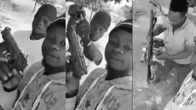 """Everybody should run!"" – Fearless Ghanaian young men warn as they display guns (video)"