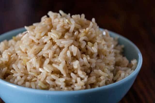 Bowl of cooked brown rice