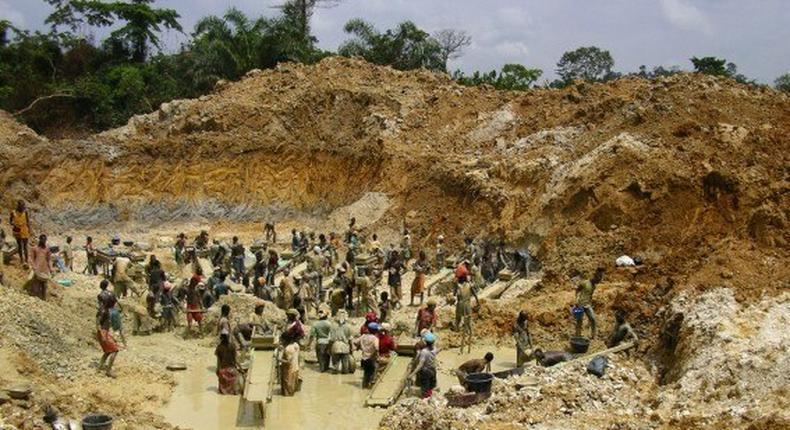 An illegal mining site in Ghana