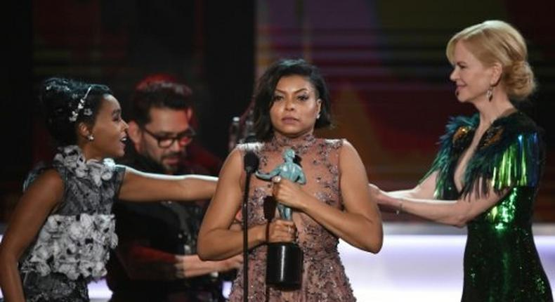 Actress Taraji P. Henson (C) accepts the award for Outstanding Performance by a Cast in a Motion Picture for 'Hidden Figures' during the 23rd Annual Screen Actors Guild Awards in Los Angeles