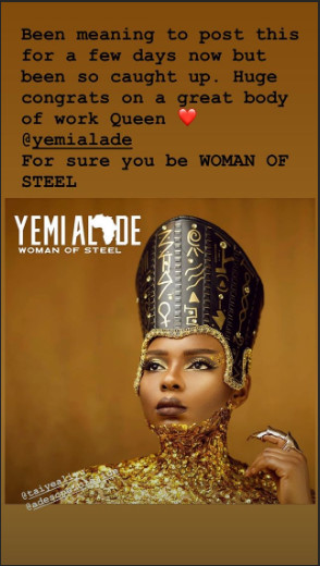Tiwa Savage gives a shout-out to Yemi Alade on her new album, 'Woman of Steel.' (Instagram/Tiwa Savage)