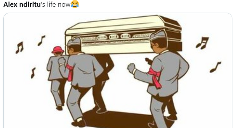 Meme of Ghanaian pall bearers shared after Nyeri man Alex Ndiritu trended at number 1 on Twitter