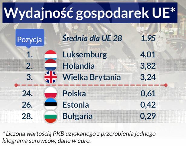 Wydajność gospodarek UE, infografika DG