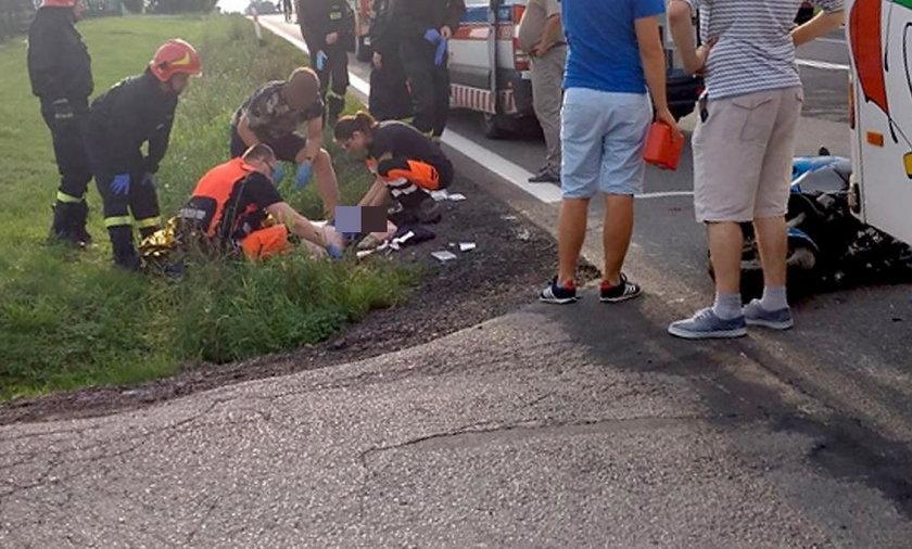 Wypadek w Nowosielcach. Ucierpiał motorowerzysta