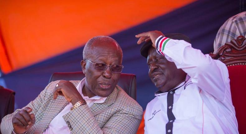 ODM party leader Raila Odinga (right) and former minister Prof. Sam Ongeri in Kisii County.