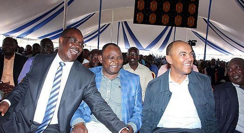 Nairobi Governor Evans Kidero (left), Kasarani MP John Njoroge (centre) and Nairobi gubernatorial aspirant Peter Kenneth (right) during a church service in Ruai on January 29, 2017.