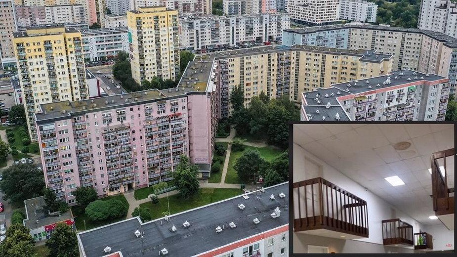 Apartament z balkonami wychodzącymi na korytarz