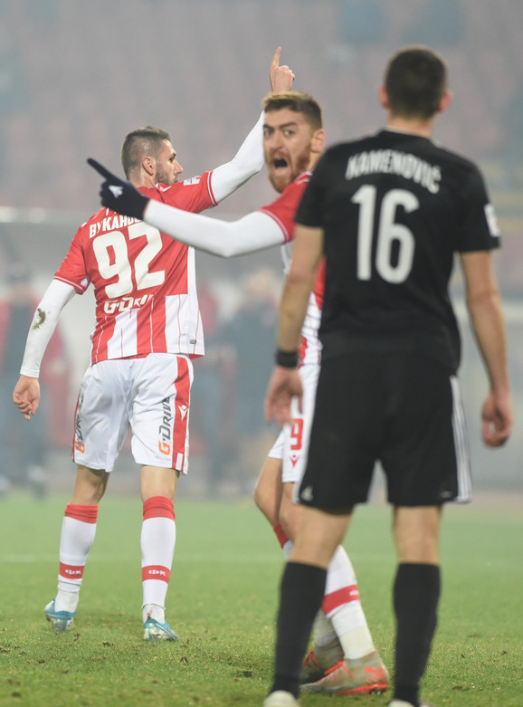 Milan Pavkov slavi na meču FK Crvena zvezda - Čukarički