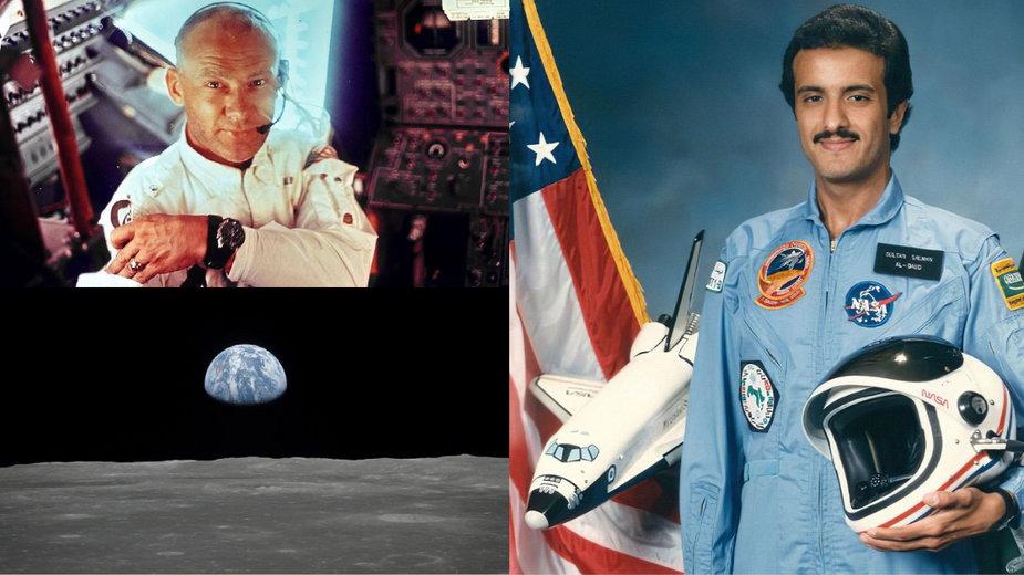 Buzz Aldrin w module księżycowym, 20 lipca 1969, NASA | Wschód Ziemi na Księżycu, 20 lipca 1969, NASA | Pierwszy muzułmanin w kosmosie, Sultan ibn Salman Al Su'ud, 17-24 czerwca 1985, NASA