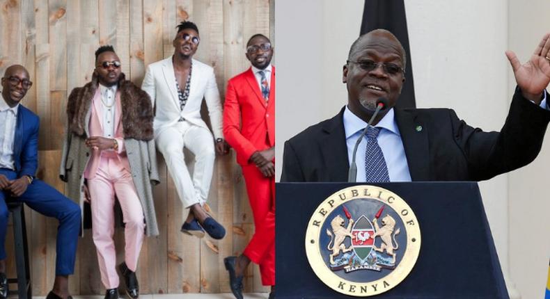 Magufuli singing's Sauti Sol's Extravaganza song during speech (Video)