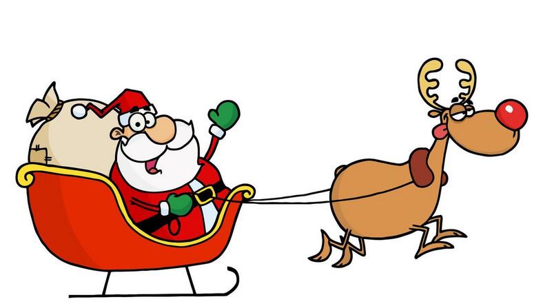 Święty Mikołaj i renifer ze świątecznych kreskówek