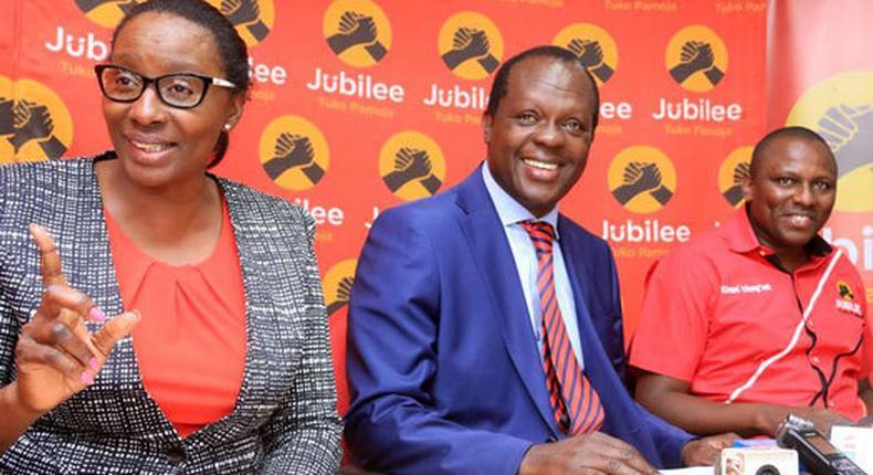 File image of Beatrice Elachi, Jubilee Party Secretary General Raphael Tuju and Kikuyu MP Kimani Ichung'wa at a past press conference at the party headquarters. Elachi has denounced DP Ruto's 2022 bid