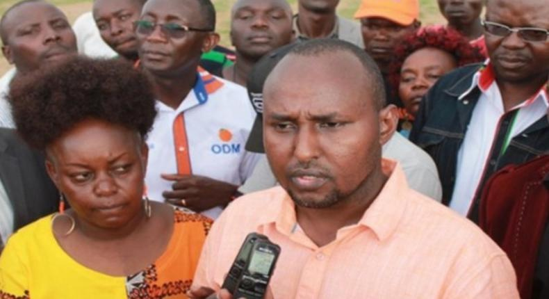 File image of Junet Mohamed addressing the press flanked by Millie Odhiambo