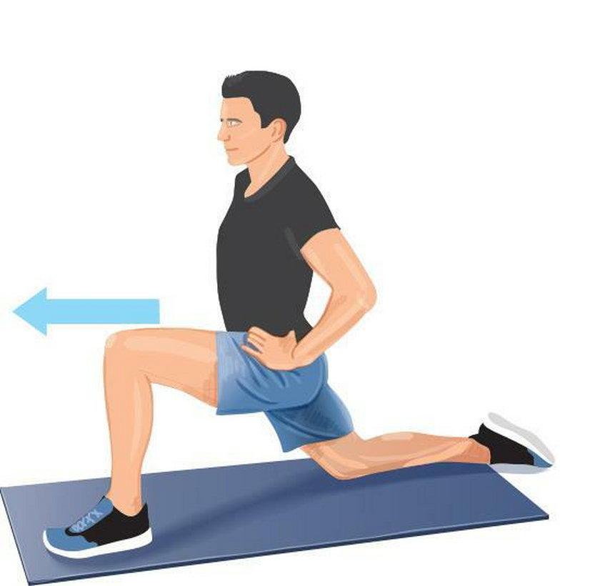 Ćwiczenie wieczorne 2. Przyklęknij na jedno kolano, stopę drugiej nogi postaw na podłodze.