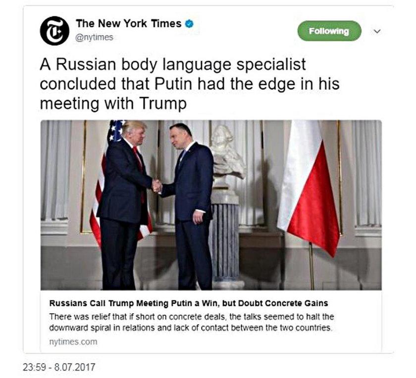 New York Times pomylił Dudę z Putinem