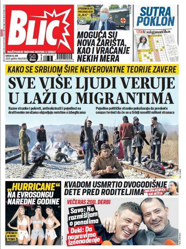 Blic, naslovna za 10.6.2020