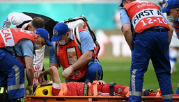 Fernandes had to be stretchered off in a neck brace after falling awkwardly Creator: Kirill KUDRYAVTSEV