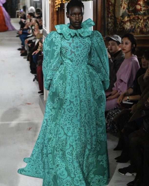 Ayak Veronica walking the runway during the Valentino Couture Show in France
