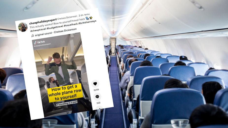 Autorka filmu na TikToku radzi, jak zająć rząd trzech foteli w samolocie dla dwóch osób