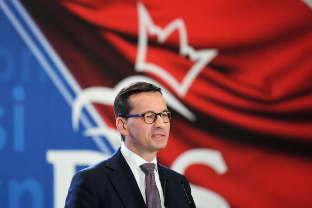 Premier Mateusz Morawiecki podczas konwencji wyborczej Prawa i Sprawiedliwości w Bydgoszczy.