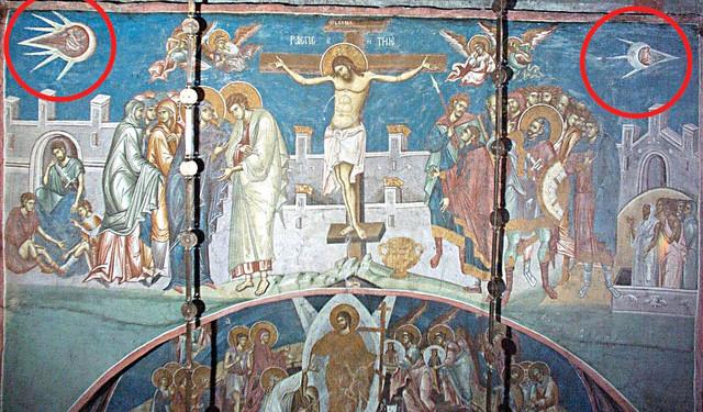 Istina: Dva objekta u uglovima freske (uokvireno) u stvari su personifikacije Sunca i Meseca