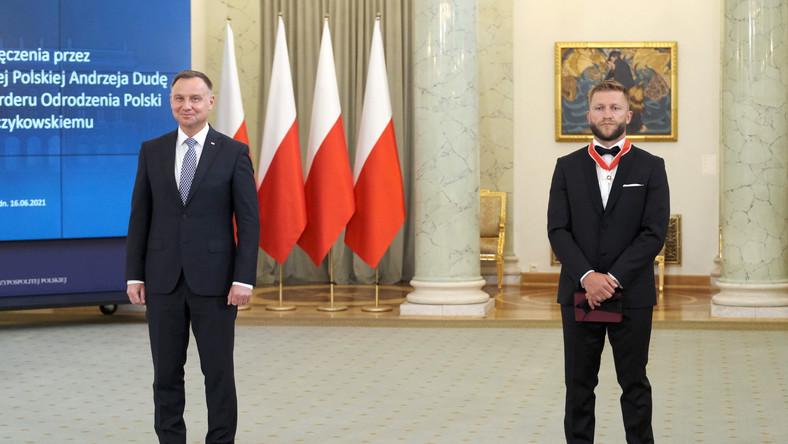 Prezydent Andrzej Duda (L) i Jakub Błaszczykowski (P)