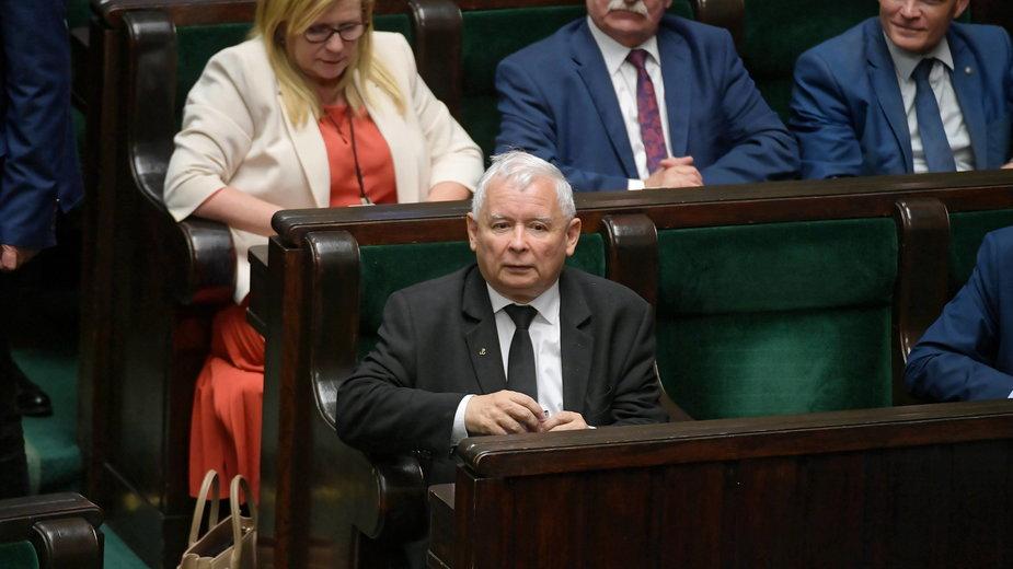 Prezes PiS Jarosław Kaczyński w pierwszym dniu 17. posiedzenia Sejmu