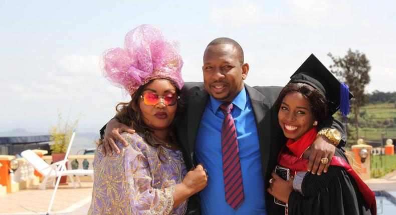 Sonko and his family during the Graduation party of his daughter