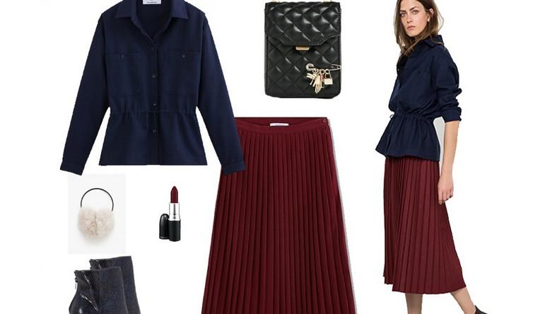 Francuski szyk świetnie sprawdzi się w codziennych stylizacjach. Plisowana, bordowa spódnica, kurtko-koszula z grubego drelichu lub wełny w połączeniu z lekko rockowymi dodatkami stworzy bardzo wyrazisty, ale tez wygodny look.