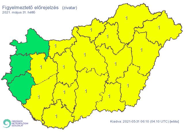 Szinte az ország teljes egészére figyelmeztetést adott ki az OMSZ. /Fotó: Országos Meteorológiai Szolgálat