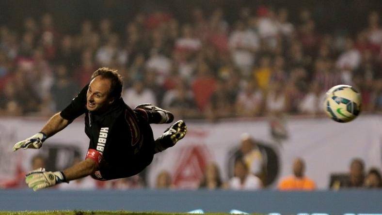 "Goalkeeper Rogerio Ceni during a friendly match between ""Club World Cup football 1992-1993"" and ""Club World Cup 2005"" at Morumbi stadium in Sao Paulo, Brazil on December 11, 2015"