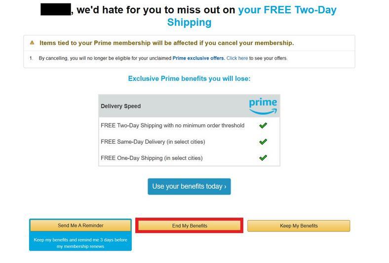 Amazon Prime Cancel Screen 1