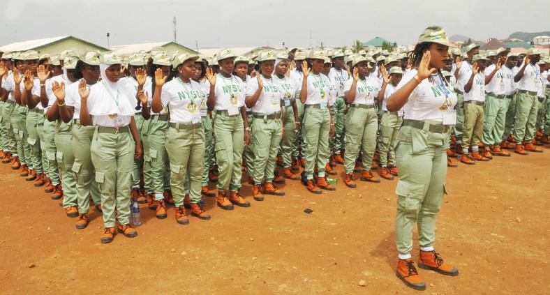 NYSC corps members on parade ground.