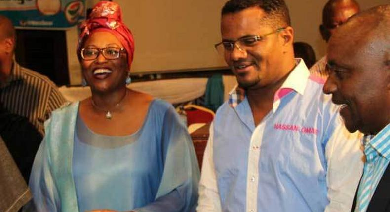 Mombasa Senator Hassan Omar (right) who is vying for the county's governorship, when he unveiled his running mate, Ms Lyndah Shuma (left) at Sarova Whitesands Beach Resort on May 22, 2017.