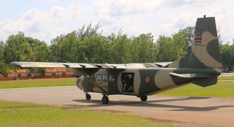 A KDF Harbin Y-12 aircraft with paratroopers on board